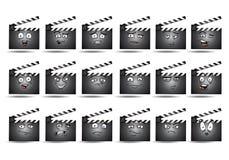 Комплект значка воплощения зажима кино Стоковая Фотография RF