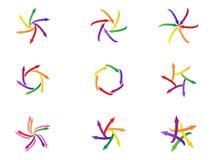 Комплект значка вращения компании сыгранности логотипа стрелки современный дизайна символа вектора Стоковые Фото