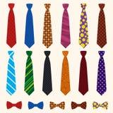 Комплект значка галстука, плоский стиль иллюстрация вектора
