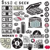 Комплект значка денег миллион Значки валюты иллюстрация вектора