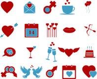 Комплект значка дня валентинок Стоковые Изображения