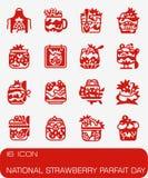 Комплект значка дня Parfait клубники вектора национальный Стоковые Изображения RF