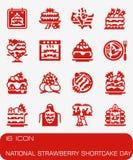 Комплект значка дня Shortcake клубники вектора национальный Стоковое фото RF