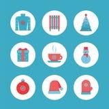 Комплект значка зимы Значки рождества, плоский дизайн иллюстрация вектора