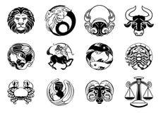 Комплект значка знаков звезды гороскопа астрологии зодиака иллюстрация штока