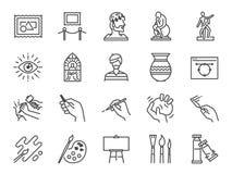 Комплект значка искусства Включил значки как художник, цвет, краска, скульптура, статуя, изображение, старый профессор, художниче иллюстрация штока