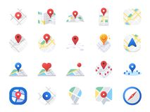 Комплект значка карты Включил значки как положение, зона, навигация, навигатор, направление и больше иллюстрация штока