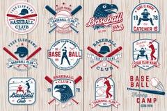 Комплект значка клуба бейсбола или софтбола также вектор иллюстрации притяжки corel Концепция для рубашки или логотипа, иллюстрация штока