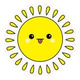 Комплект значка контура Солнця сияющий Kawaii смотрит на показывать язык взволнованность смешная Характер милого шаржа смешной Зд иллюстрация вектора