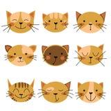 Комплект значка кота Усмехаясь кот, счастливый кот, серьезный кот, грустный кот, несчастный кот бесплатная иллюстрация