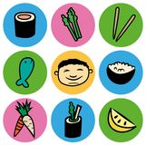 Комплект значка круга еды суш шаржа азиатский Стоковая Фотография