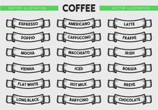 Комплект значка меню кофе Стоковое Изображение RF