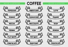 Комплект значка меню кофе Стоковая Фотография RF