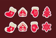 Комплект значка милых вещей рождества Комплект носок, дома, перчаток и дерева вектора нарисованных рукой иллюстрация штока