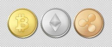 Комплект значка монетки валюты реалистического вектора секретный Bitcoin, Etherium, пульсация Технология Blockchain Крупный план  иллюстрация штока
