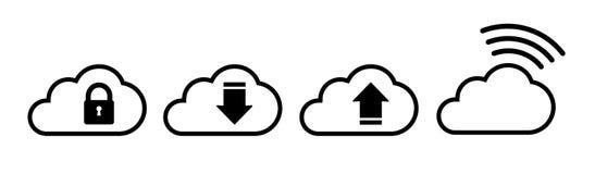 Комплект значка облака в черноте в плоском стиле иллюстрация штока