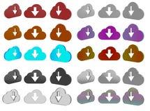 комплект значка облака 3d Стоковые Изображения RF