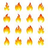 Комплект значка пламени огня иллюстрация вектора