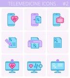 Комплект значка плана вектора цвета медицины и телемедицины иллюстрация штока