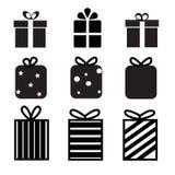 Комплект значка подарочной коробки на белой предпосылке Знак подарочной коробки Стоковая Фотография RF