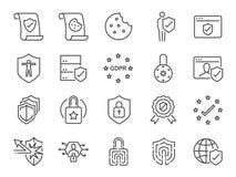 Комплект значка политики уединения Включил значки как информация о безопасности, GDPR, защита данных, экран, политика печений, ус иллюстрация вектора