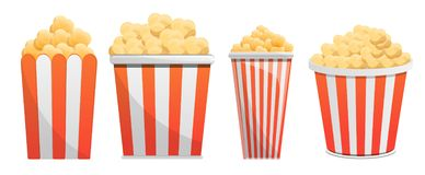 Комплект значка попкорна, стиль шаржа иллюстрация вектора