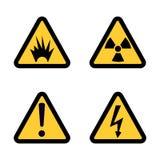 Комплект значка предупредительного знака опасности на дизайне белой предпосылки плоском Стоковое Изображение