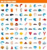 комплект значка 100 продуктов моря, плоский стиль бесплатная иллюстрация