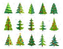 Комплект значка рождественских елок изолированный на белой предпосылке Милое Chri иллюстрация штока