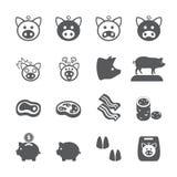 Комплект значка свиньи иллюстрация штока