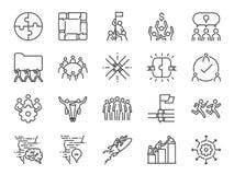 комплект значка сыгранности Включил значки как компания, сотрудничество, участие, успех, совместно, дело, единство, люди и mor иллюстрация штока