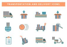Комплект значка транспорта и поставки стоковые фото