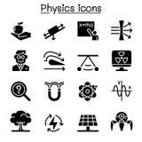 Комплект значка физики иллюстрация вектора