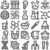 Комплект значка химии, стиль плана иллюстрация штока
