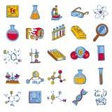 Комплект значка химической лаборатории, рука нарисованный стиль иллюстрация вектора