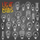 Комплект значка электрических лампочек концепция большой воодушевленности идей, innovati Стоковое фото RF