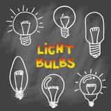 Комплект значка электрических лампочек концепция большой воодушевленности идей, innovati Стоковые Изображения