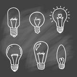Комплект значка электрических лампочек концепция большой воодушевленности идей, innovati Стоковое Изображение