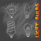 Комплект значка электрических лампочек концепция большой воодушевленности идей, innovati Стоковое Изображение RF