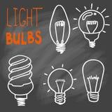 Комплект значка электрических лампочек концепция большой воодушевленности идей, innovati Стоковая Фотография RF