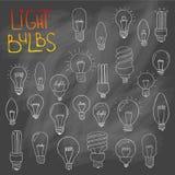 Комплект значка электрических лампочек концепция большой воодушевленности идей, innovati Стоковые Изображения RF