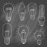 Комплект значка электрических лампочек концепция большой воодушевленности идей, innovati Стоковая Фотография
