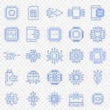 Комплект значка электроники 25 значков вектора пакуют иллюстрация вектора