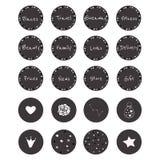 Комплект 20 значков вектора в шикарном черно-белом стиле стоковое изображение