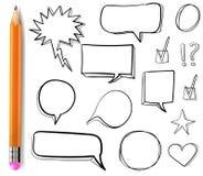 Комплект значков ВЕКТОРА нарисованных 3d: контрольная пометка, звезда, сердце, речь клокочет, чертежи плана с карандашем иллюстрация вектора