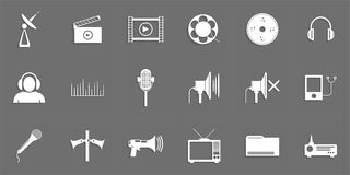 Комплект значков вектора на теме соединения средств массовой информации иллюстрация штока