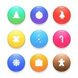 Комплект значков вектора рождества изолированных на белой предпосылке бесплатная иллюстрация