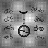Комплект значков велосипедов также вектор иллюстрации притяжки corel бесплатная иллюстрация