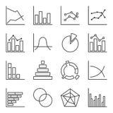 Комплект значков графических диаграмм Легко editable план Изолированный вектор на белой предпосылке бесплатная иллюстрация