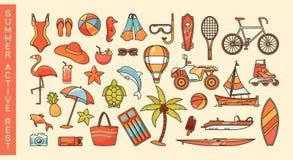 Комплект значков деятельности при лета или каникулам моря Стоковое фото RF